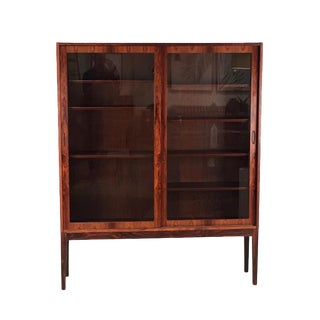1960s Danish Modern Rosewood & Glass Cabinet For Sale