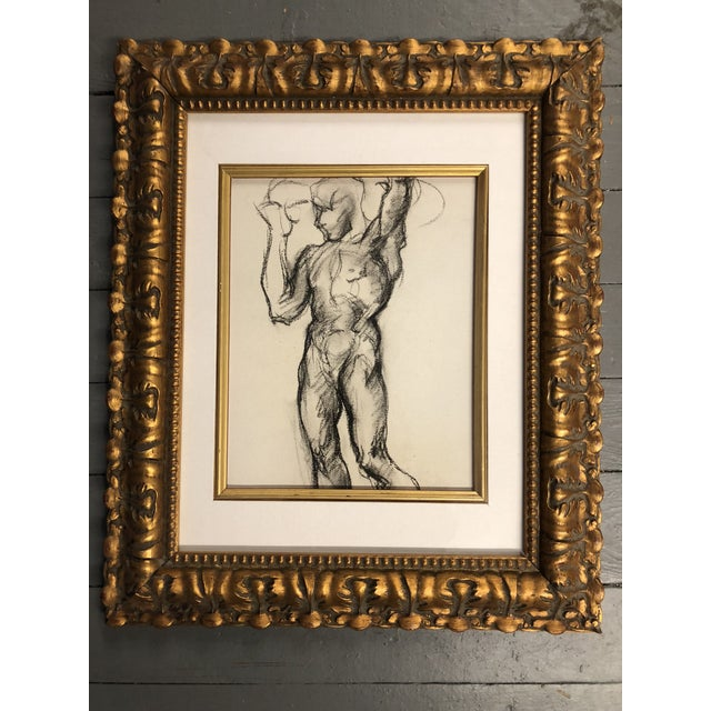 Collection of 3 Original circa 1930's Charcoal class is Studies Framed in ornate gold vintage frames 11.5 x 13.5 ,13 x 16...