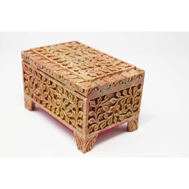 Hand-Carved Stone Jewelry Box Rajasthan, India For Sale - Image 11 of 13