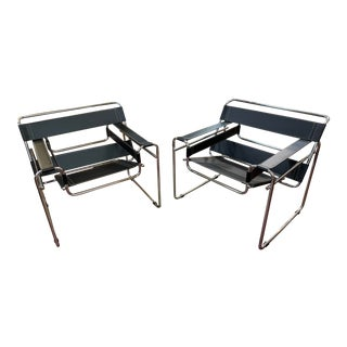 2000s Contemporary Wassily Black and Chrome Lounge Chairs - Set of 2 For Sale