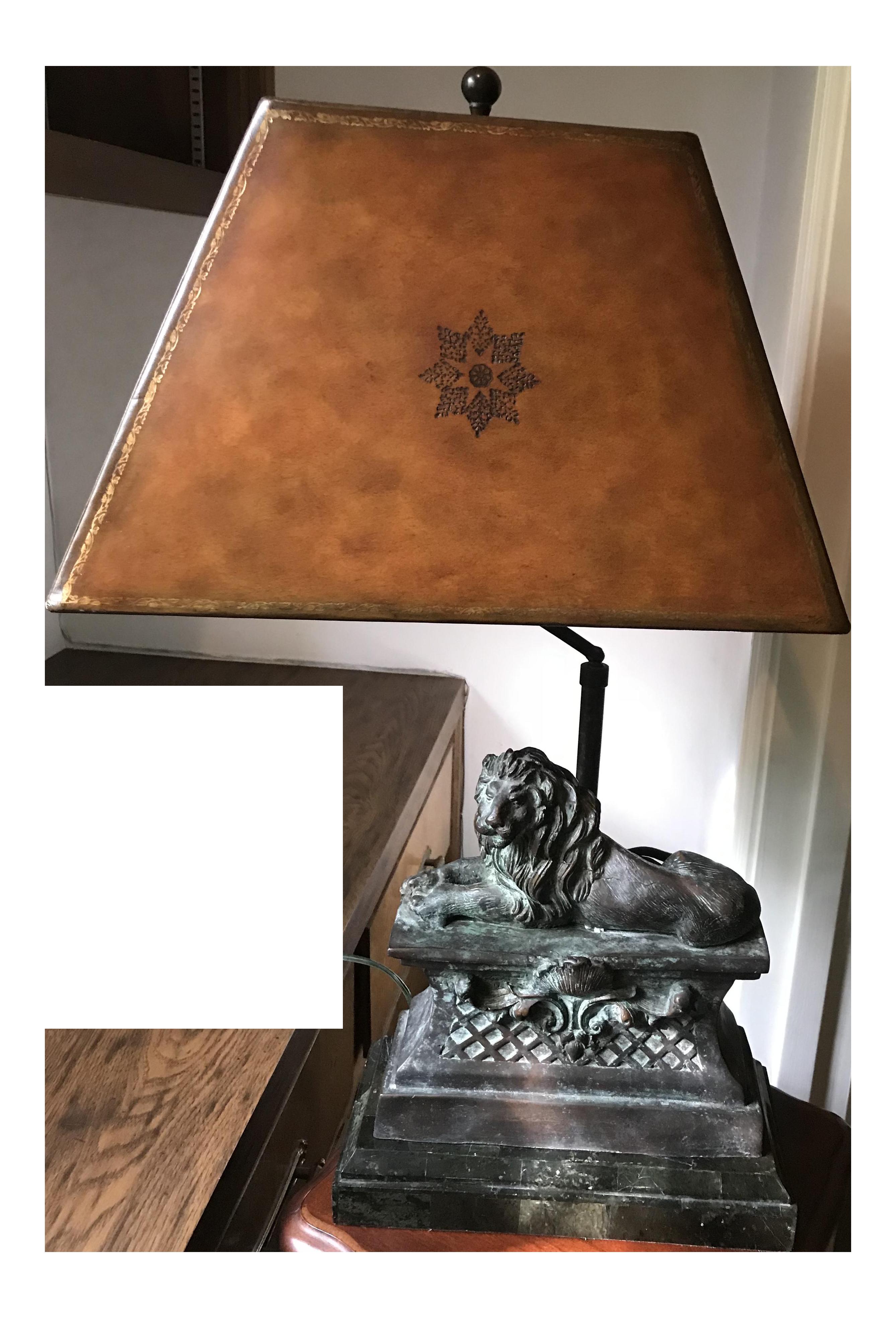 Maitland Smith Bronze Lion On Pedestal Lamp Green Marble Base
