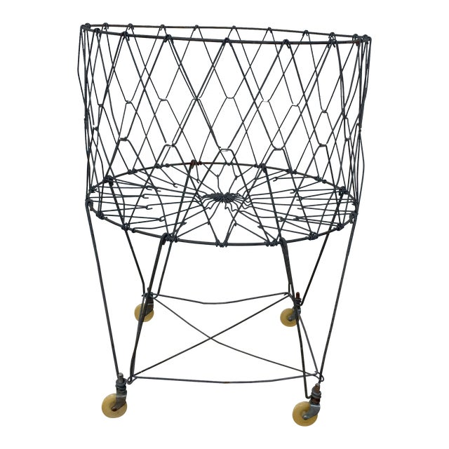Vintage Industrial Collapsible Wire Laundry Basket on Casters For Sale