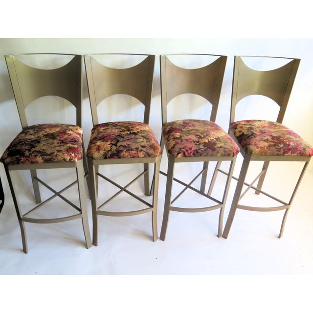 "Traditional ""X"" Support Flat Iron Bar Stools - Set of 4 For Sale - Image 3 of 5"