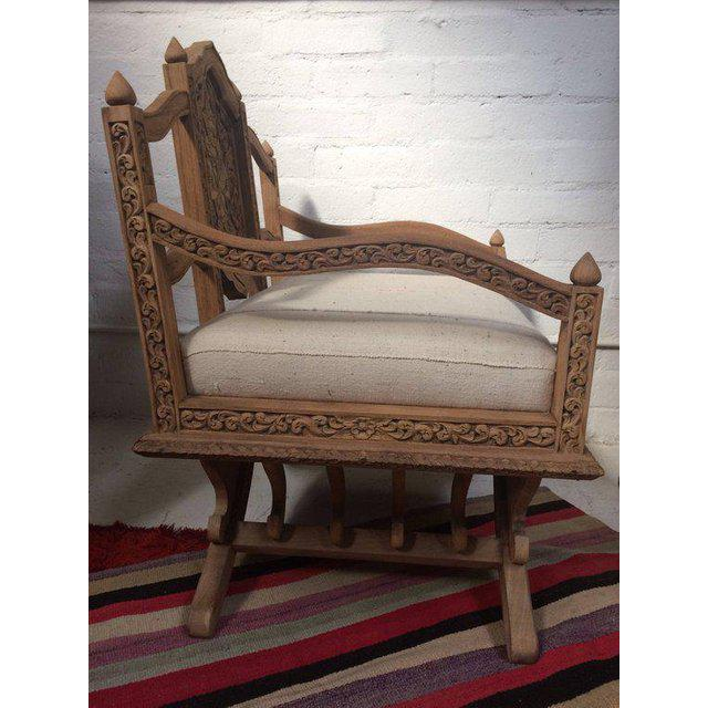 Asian Antique Carved Wooden Elephant Saddle Chair With Hand Woven Textile Cushion For Sale - Image 3 of 11