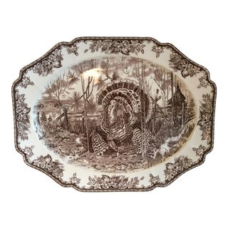 Josiah Wedgwood & Sons, Ltd. His Majesty Hand Engraving Turkey Platter Exclusively for William-Sonoma For Sale