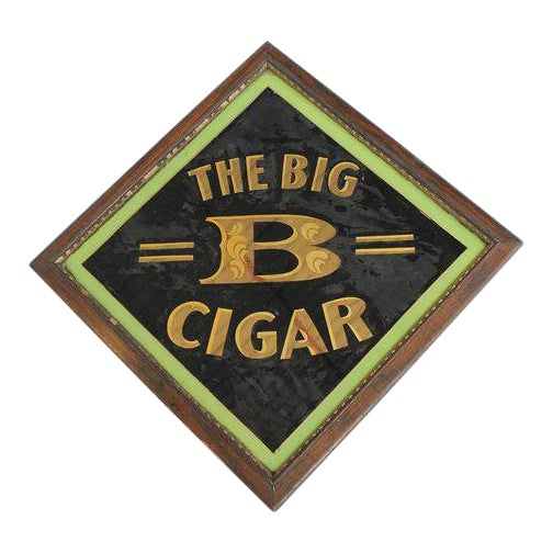 "Early 20th Century American ""The Big B Cigar"" Reverse Painted Glass Sign For Sale - Image 4 of 4"