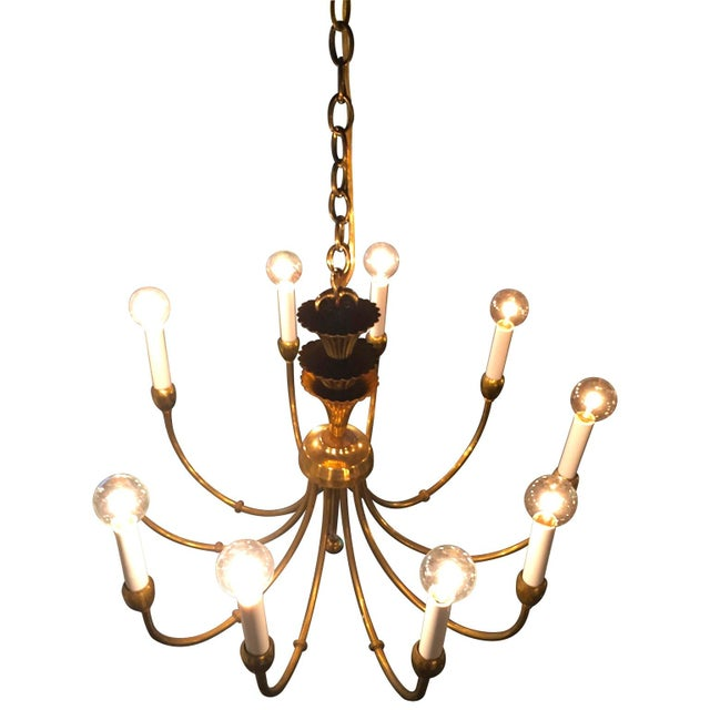 Mid-Century Modern Brass Chandelier in the Manner of Tommi Parzinger - Image 2 of 11