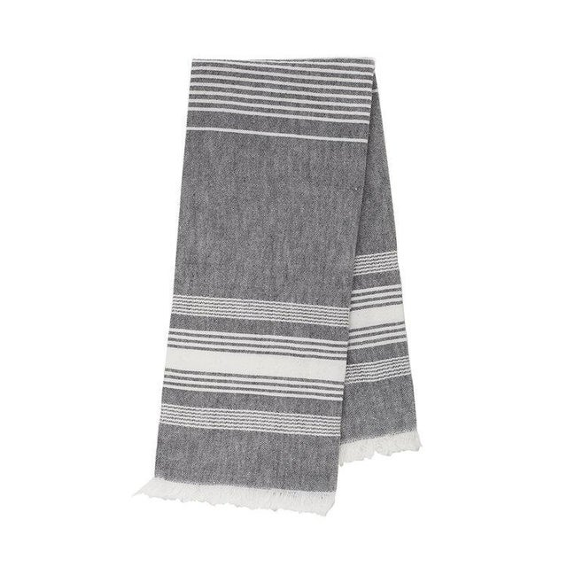 Boho Chic Grey Chambray Kitchen Towel For Sale - Image 3 of 3