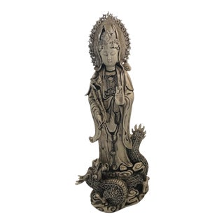 Chinese Quan Yin Blanc De Chine Statue on Dragon For Sale