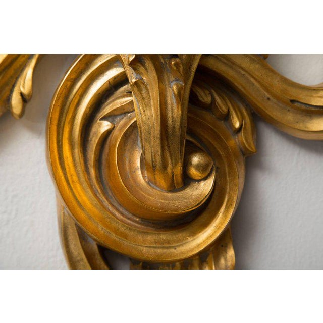 Rococo Pair of Gilt Rococo Style Brackets with Glass Shelves For Sale - Image 3 of 8