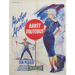 1956 French Marilyn Monroe Movie Poster, Arret d'Autobus (Bus Stop) For Sale
