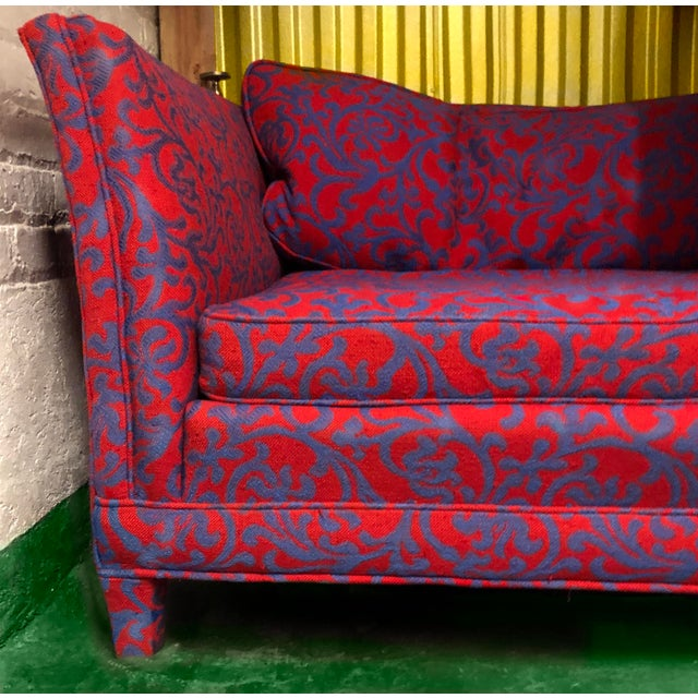 Hollywood Regency Last Call 1980s Post-Modern Hollywood Regency Jacobean Coral Sofa For Sale - Image 3 of 3