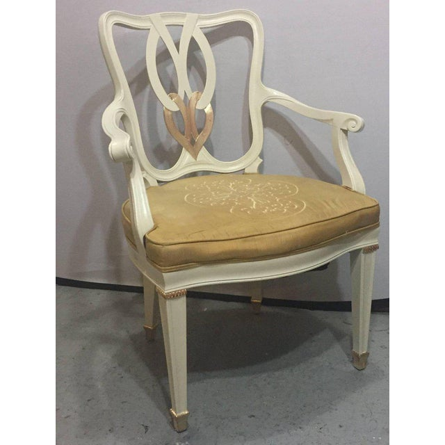 Hollywood Regency 8 Sweet Heart Dining Chairs Parcel Gilt Gold & Paint Decorated - Image 4 of 9