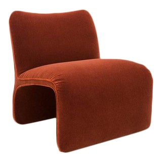 Sculptural Chair by Vladimir Kagan for Preview Furniture Chair in Rust Mohair