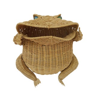 1970s Vintage Whimsical Rattan Wicker Frog Basket For Sale