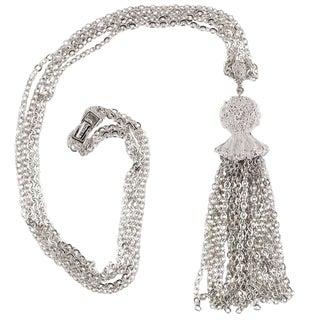 Monet Silvertone Tassel Pendant Necklace For Sale