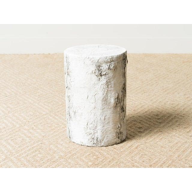 Medium stone matrix outdoor side table . Birch faux bois finish