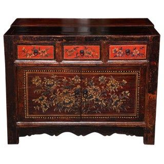 Gansu Early 20th Century Painted Sideboard With Chinese Flower Patterns For Sale