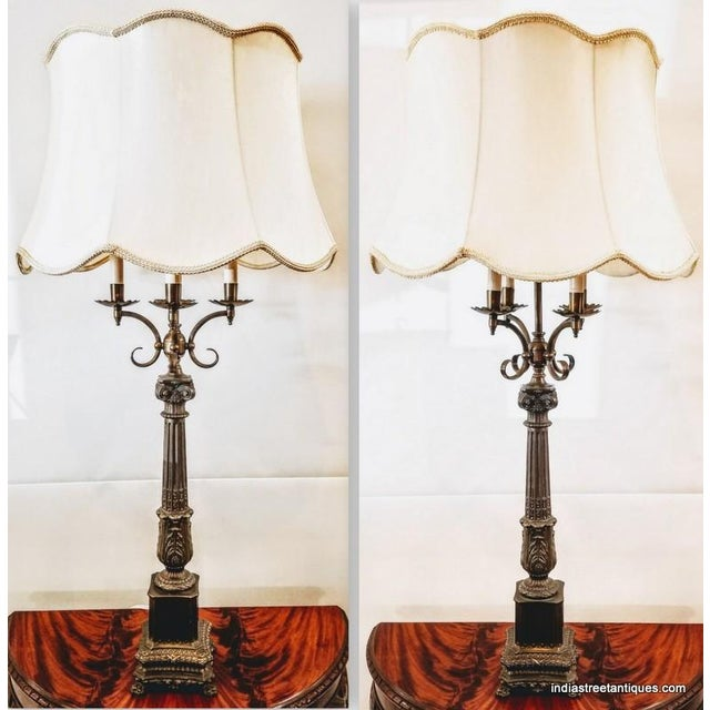 Pair Vintage 1920s French Empire Style Candelabra Table Lamps For Sale - Image 4 of 10