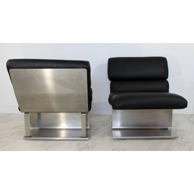 1970s Mid-Century Modern Paul Geoffroy Uginox Steel Leather Lounge Chairs - a Pair For Sale - Image 4 of 6
