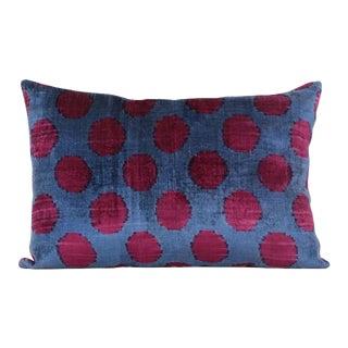 Blue & Burgundy Silk Velvet Accent Pillow For Sale