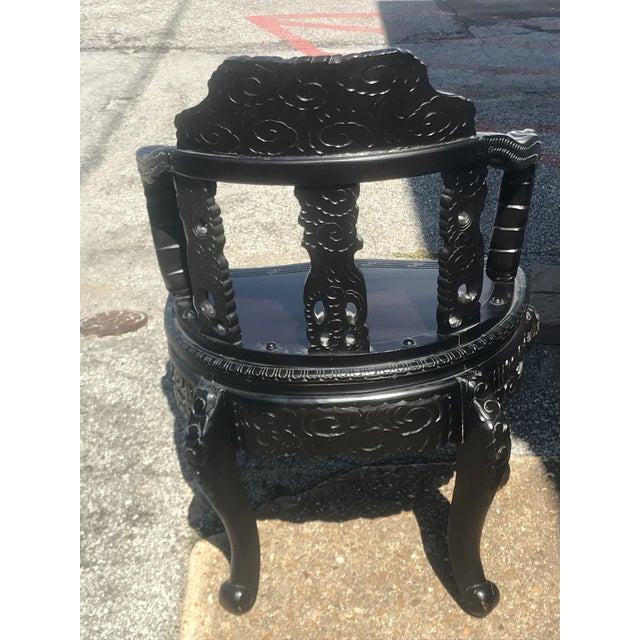 Qing Dynasty Carved Ebonized Rosewood Dragon Phoenix Throne Chair For Sale - Image 4 of 12