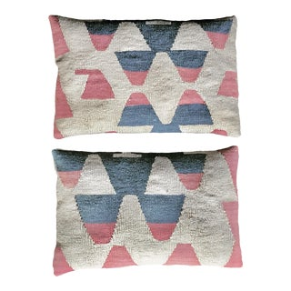 Geometric Turkish Kilim Rug Pillows for Restoration Hardware - A Pair