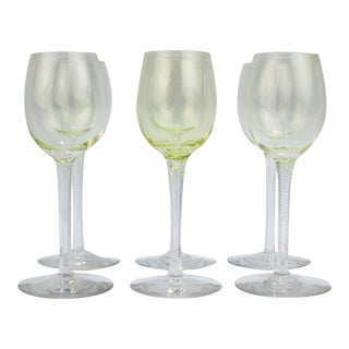 German or Austrian Art Nouveau Yellow Glass Wine Stems or Goblets - Set of 6 For Sale