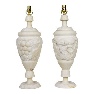 Italian Hand Carved Grapevine Alabaster Urn Lamps with Interior Light - a Pair For Sale