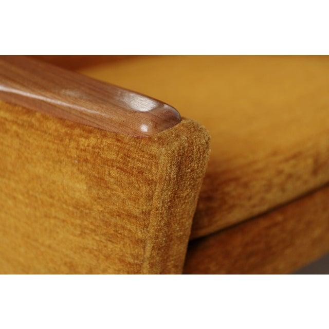 Scandinavian Mid Century Modern Orange Sculpted Walnut Sofa circa 1960s - Image 9 of 11
