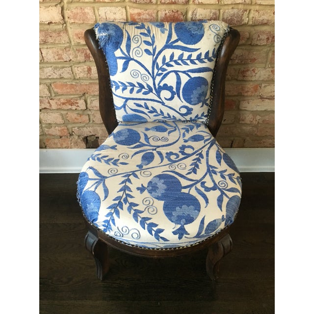 Vintage Slipper Chair With Suzani Upholstery - Image 3 of 7