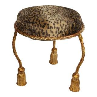 1970s Vintage Hollywood Regency Cheetah Print Gold Leaf Tassel & Rope Foot Stool For Sale