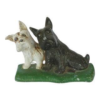 "Cast Iron Texaco ""Listen"" Scottie Dogs Doorstop"