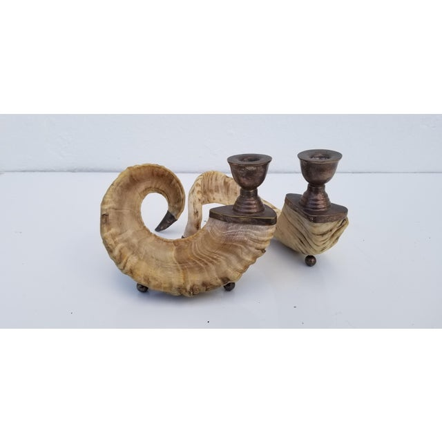 Metal 1960s Vintage Ram's Horns and Silver Bronze Candleholders- A Pair For Sale - Image 7 of 10