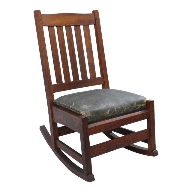 L. & J.G. Stickley, Inc. Mission Oak Youth Nursing Rocking Chair For Sale