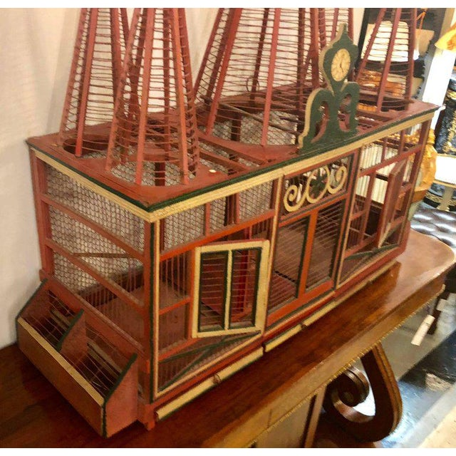 Americana Folk Art Circus Tent Style Original Painted Bird Cage For Sale - Image 9 of 13
