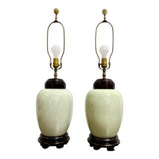 Vintage Chinoiserie Celedon Crackle Glaze Table Lamp Pair For Sale