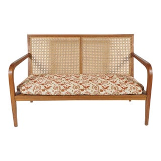 1940s French 'Art Moderne' Wood Frame & Cane Settee Loveseat with Horsehair Cushions Manner of Corbusier/ Jeanneret For Sale