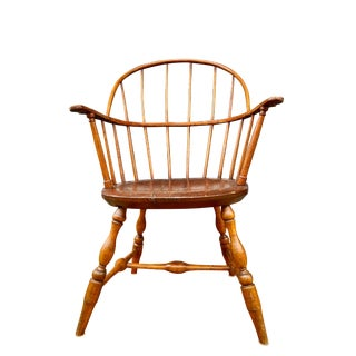 Early American Hoopback Windsor Chair, Oak and Hickory Wood 1840s, Antique Brown For Sale
