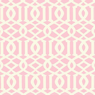 Schumacher Imperial Trellis II Wallpaper in Blush For Sale