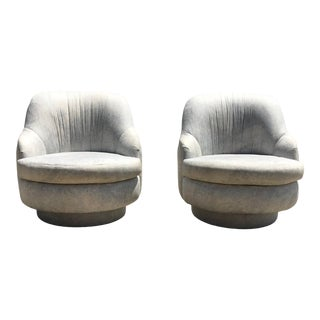 1980s Vintage Milo Baughman for Thayer Coggin Designer Swivel and Tilt Lounge Chairs- A Pair For Sale