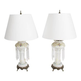 19th Century Victorian Electrified Lustre Lamps - a Pair For Sale