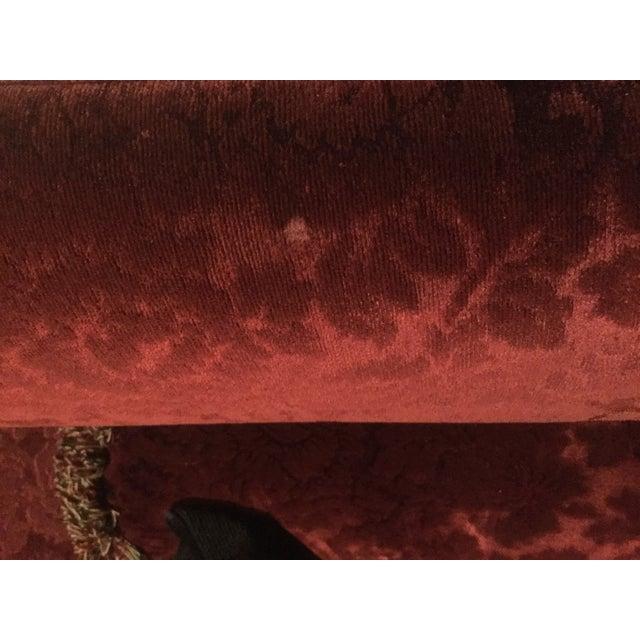 Cotton Bordeaux Cotton Velvet Damask Chair & a Half For Sale - Image 7 of 10