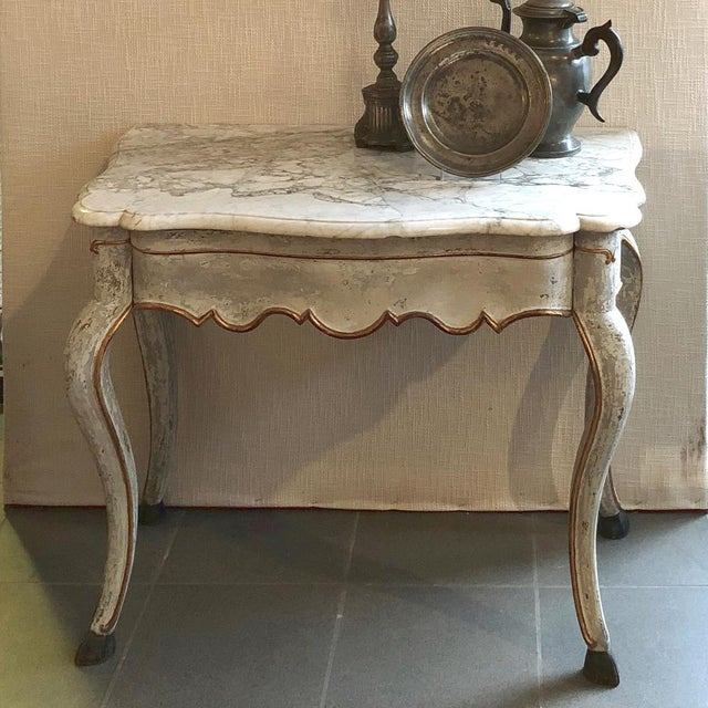 Mid-Century Modern 19th Century Swedish Painted Marble Top Console For Sale - Image 3 of 13