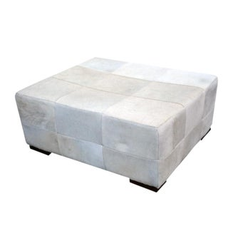 Large White Cowhide Patchwork Ottoman With Walnut Feet