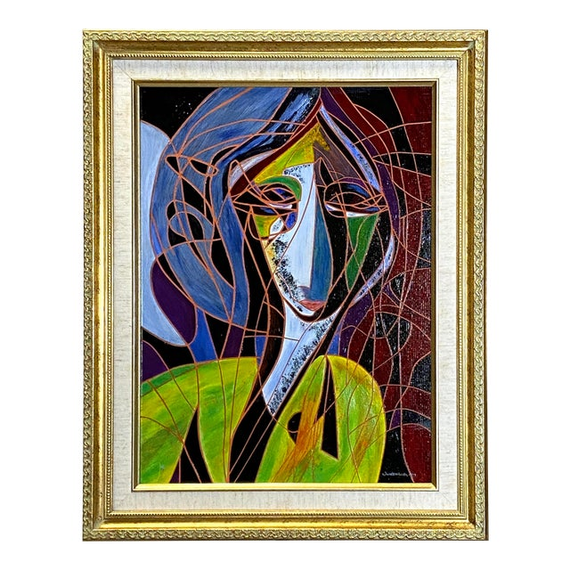 Beautiful Vintage Oil on Canvas Signed Abstract Cubism Gold Frame For Sale