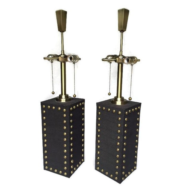 Modern Glam Studded Black & Brass Lamps - Pair - Image 2 of 10