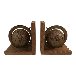 Old World Globe Bookends - A Pair For Sale