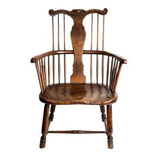Very rare English Thames Valley fruitwood & elm Windsor chair, early 18th century