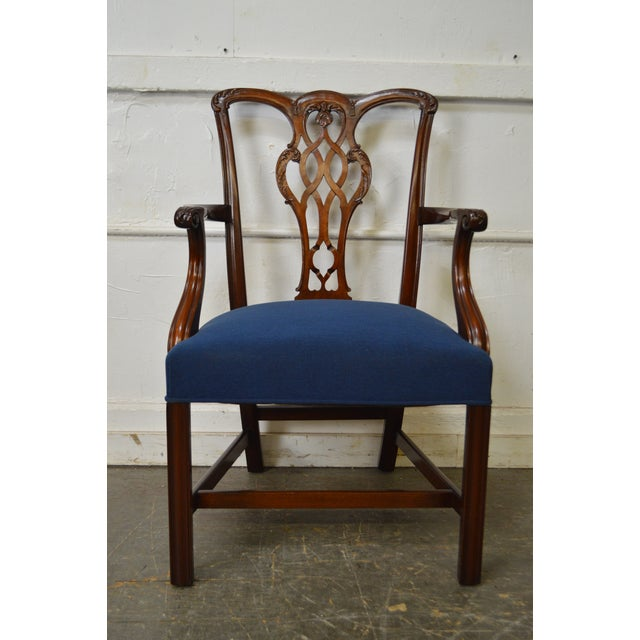 Chippendale Style Set of 8 Custom Mahogany Dining Chairs - Image 6 of 11